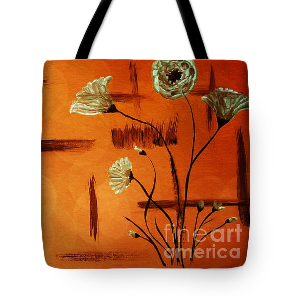 Abstract Tote Bag featuring the painting Expressive Abstract Floral A42016 by Mas Art Studio