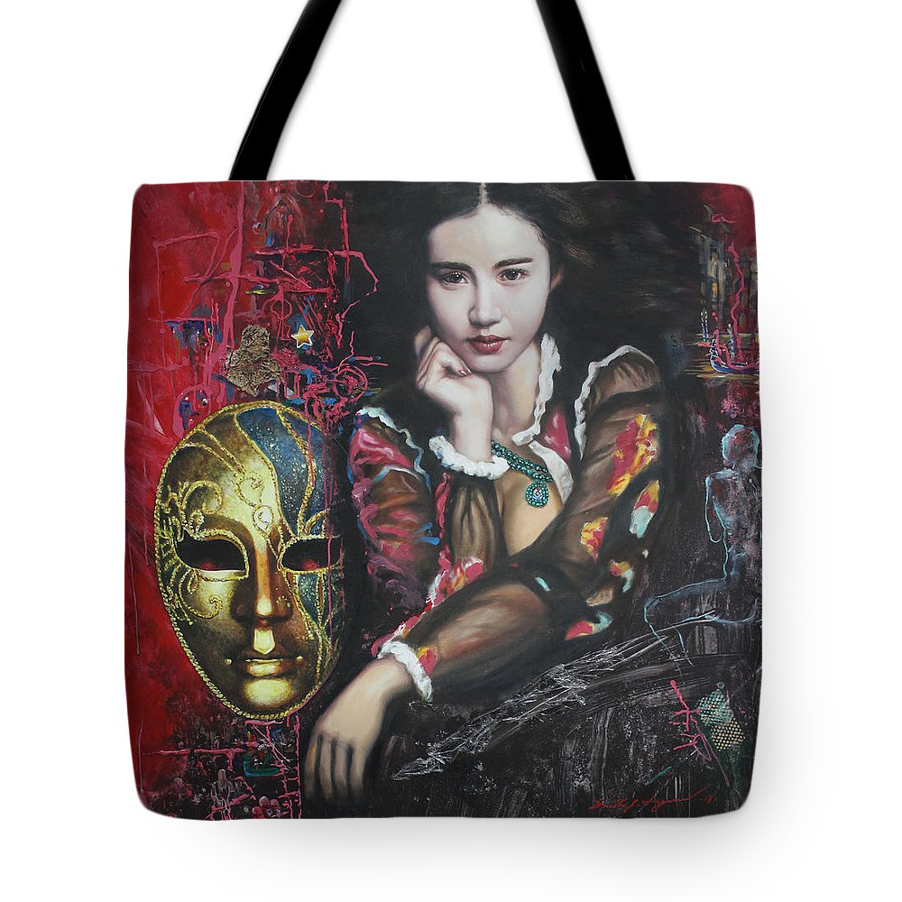 Portraits Tote Bag featuring the painting Abstract Portraits by U Sein Linn