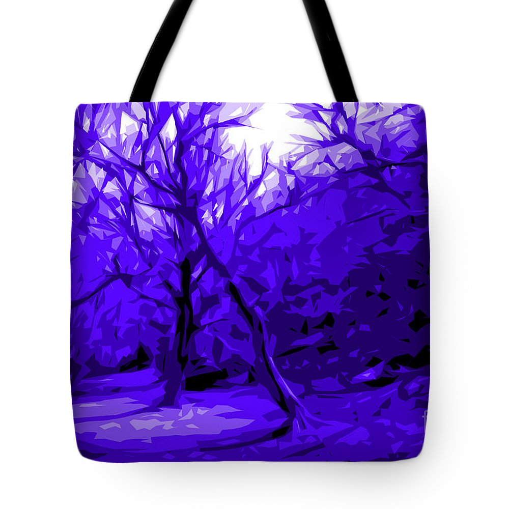 Abstract Landscape Tote Bag featuring the digital art Abstract Sanctuary by Jacqueline Milner