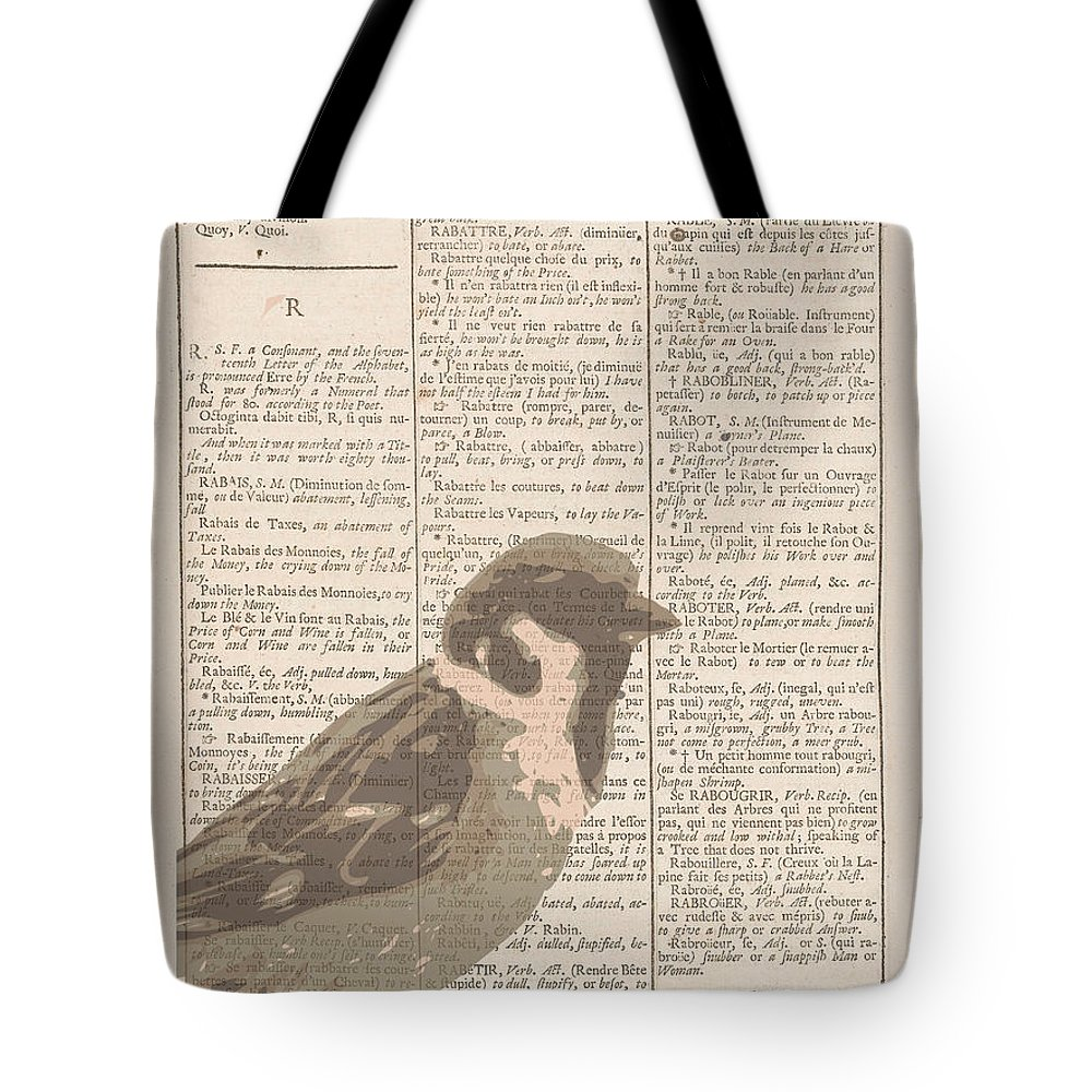 Sparrow Tote Bag featuring the digital art Abstract Sparrow On Dictionary by Keshava Shukla