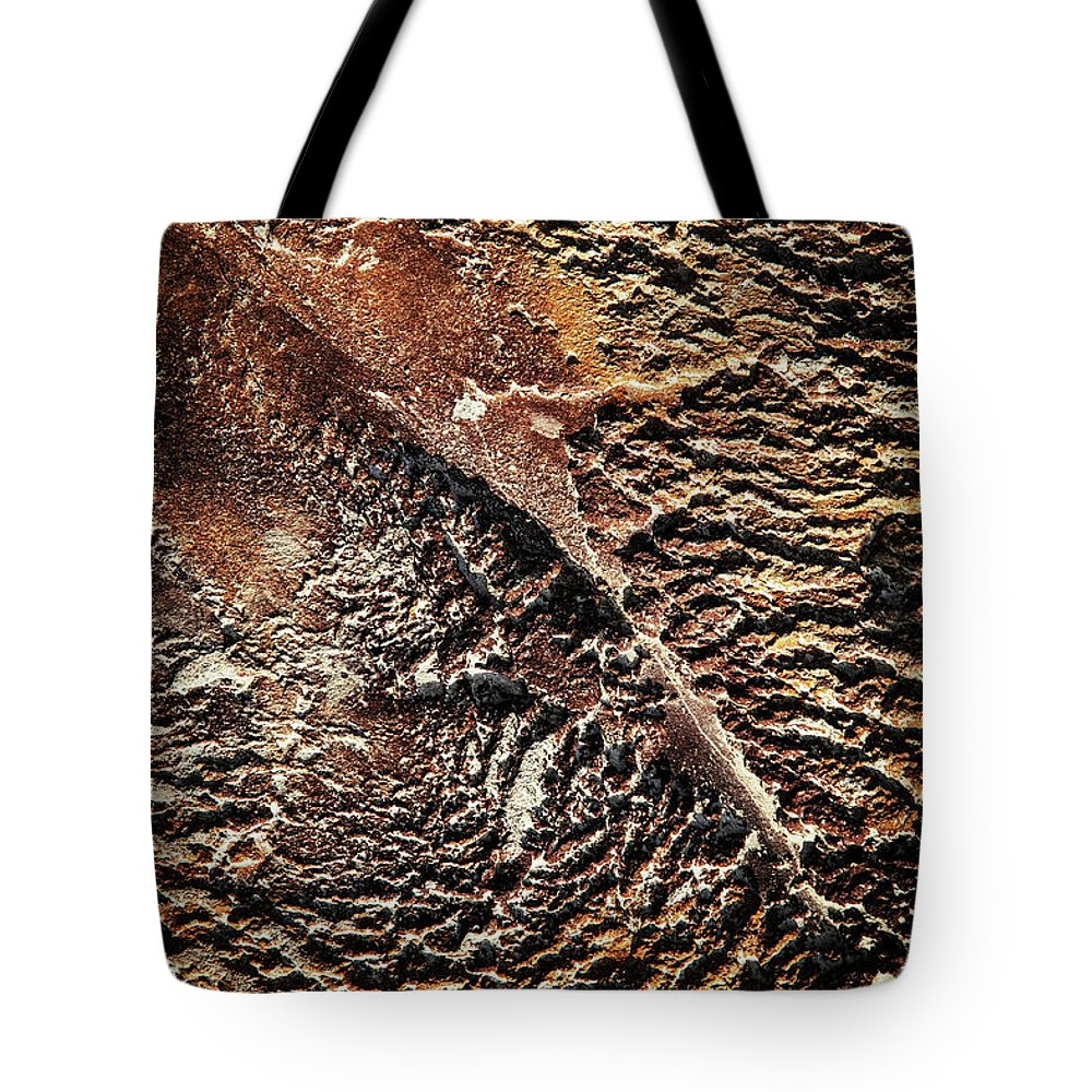 Ocher Tote Bag featuring the photograph Abstract Surface Bumpy Stone by Jozef Jankola