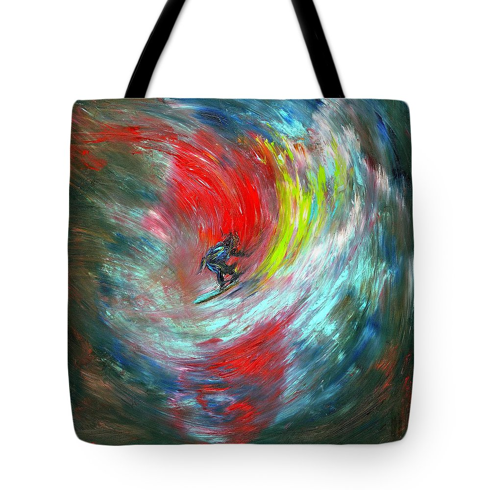 Surfer Tote Bag featuring the painting Abstract Surfer by Paul Emig