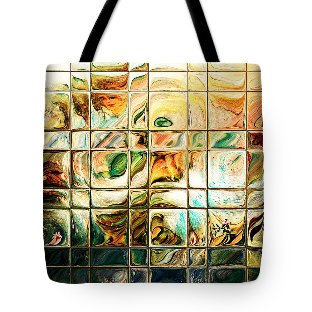 Abstract Tote Bag featuring the digital art Abstract-through Glass by Patricia Motley