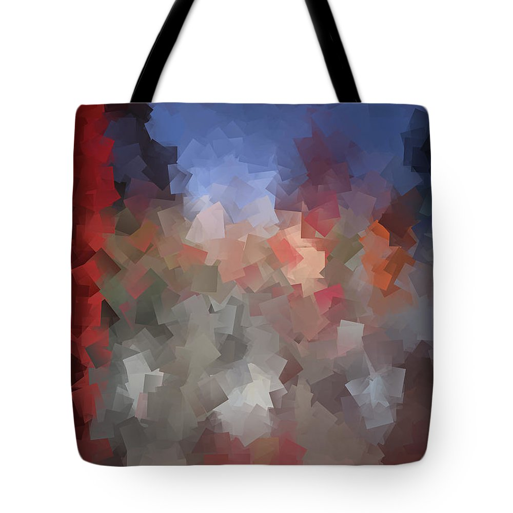 Abstract Tote Bag featuring the digital art Red And Blue - Abstract Tiles No. 16.0110 by Jason Freedman