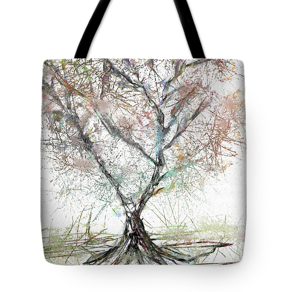 Abstract Tote Bag featuring the digital art Abstract Tree by Renee Skiba