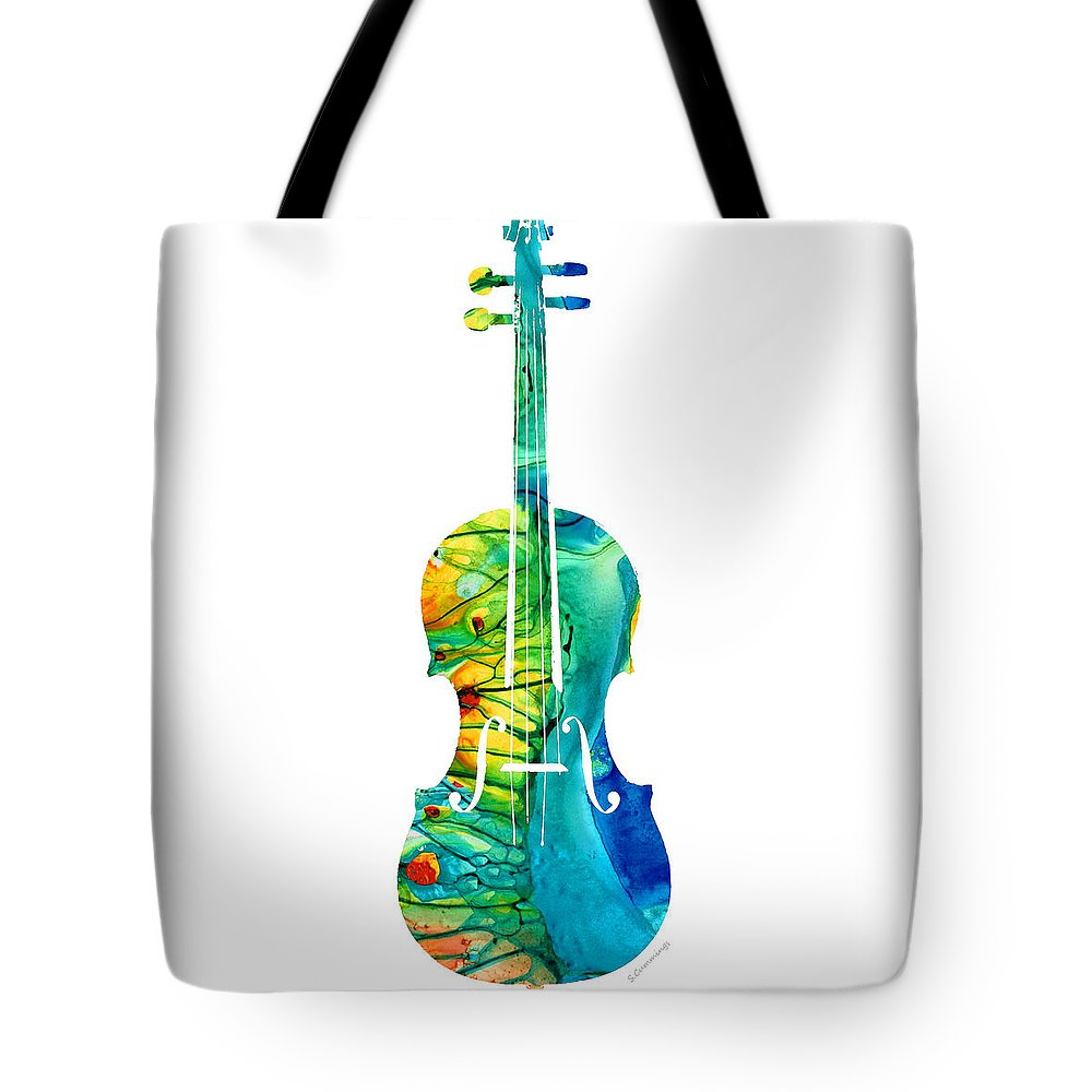 Violin Tote Bag featuring the painting Abstract Violin Art By Sharon Cummings by Sharon Cummings