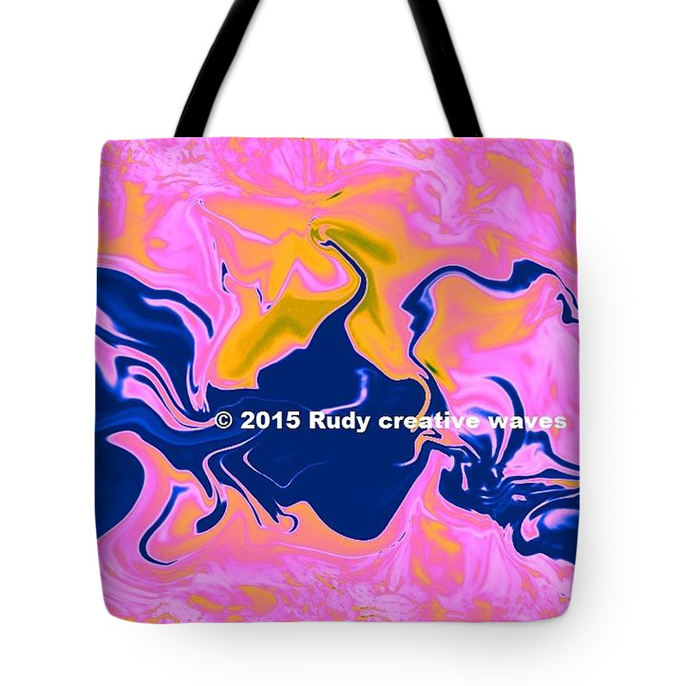 Water Forms Tote Bag featuring the digital art Abstract Water Forms Des by Rudy L Henderson