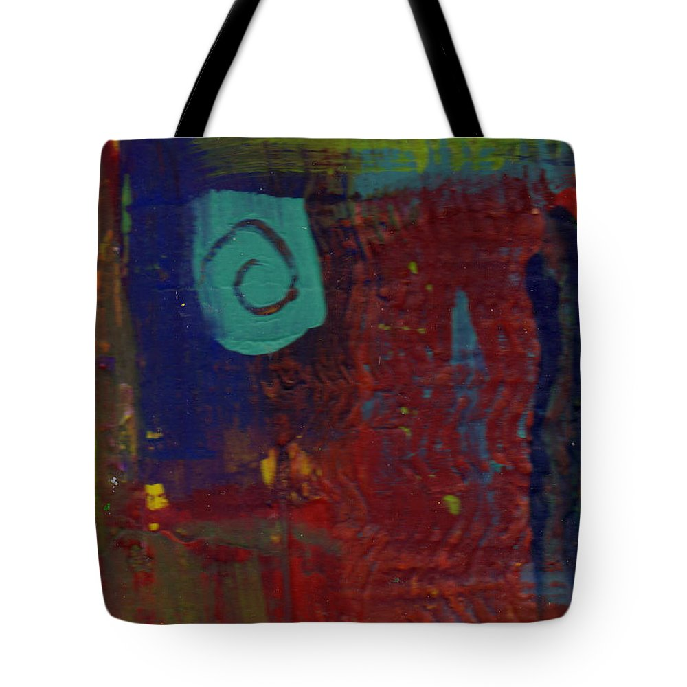 Abstract Tote Bag featuring the painting Abstract With Teal Spiral by Wayne Potrafka