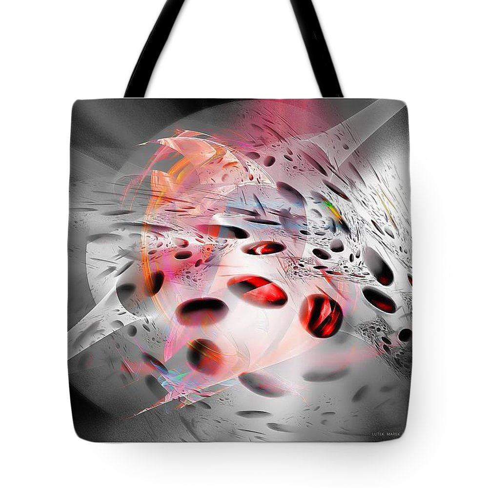 Abstraction Tote Bag featuring the digital art Abstraction 3306 by Marek Lutek