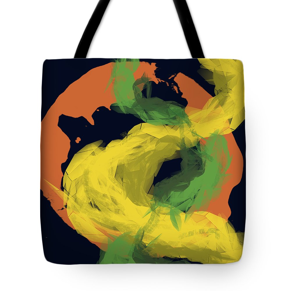 Abstract Tote Bag featuring the digital art Abstractitude of Lines by Rouages Design