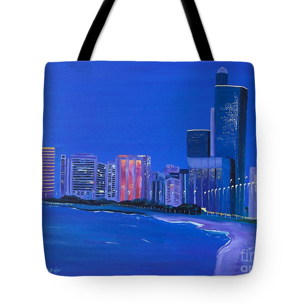Abu Dhabi Tote Bag featuring the painting Abu Dhabi by Claudia Luethi alias Abdelghafar