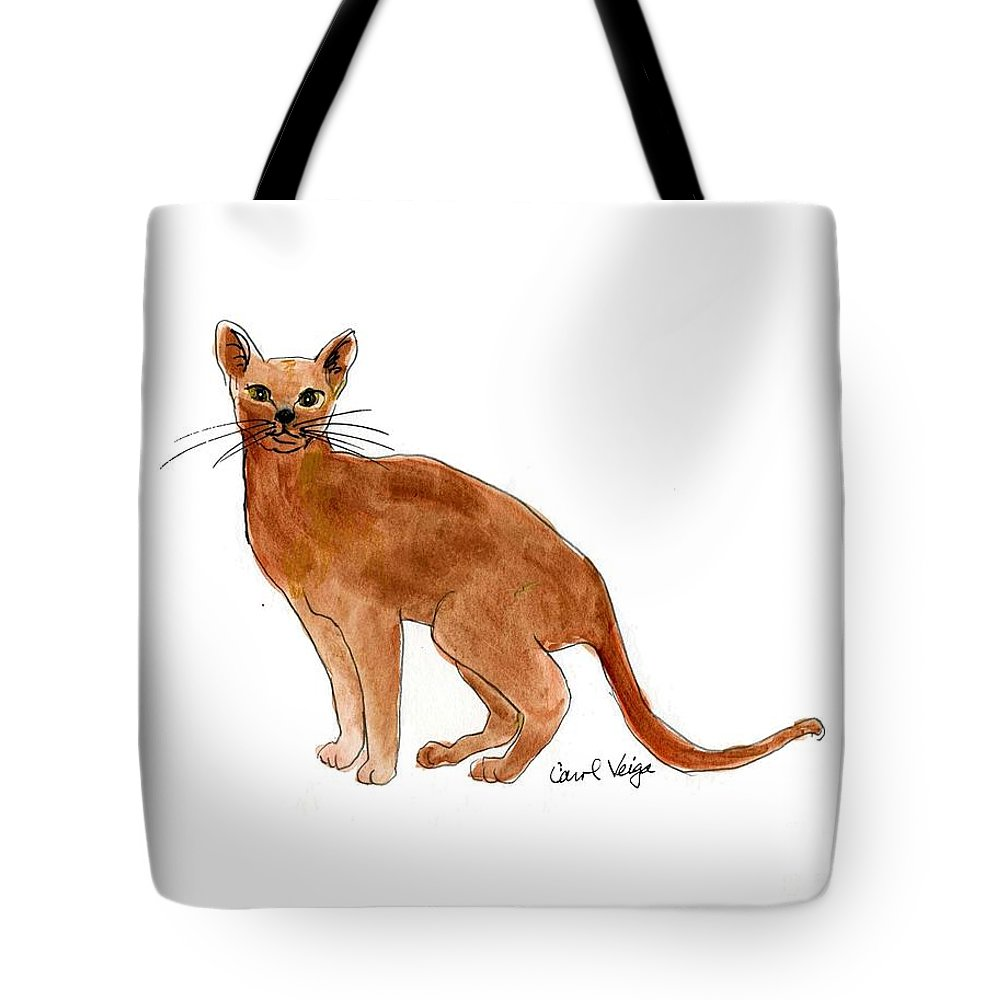 Abyssinian Tote Bag featuring the drawing Abyssinian by Carol Veiga