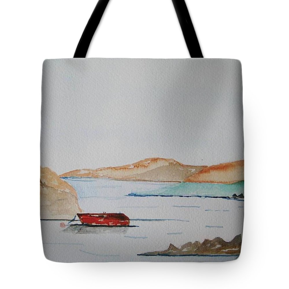 Ireland West Of Ireland Seaview Peaceful Day Tote Bag featuring the painting Achill II by Roger Cummiskey