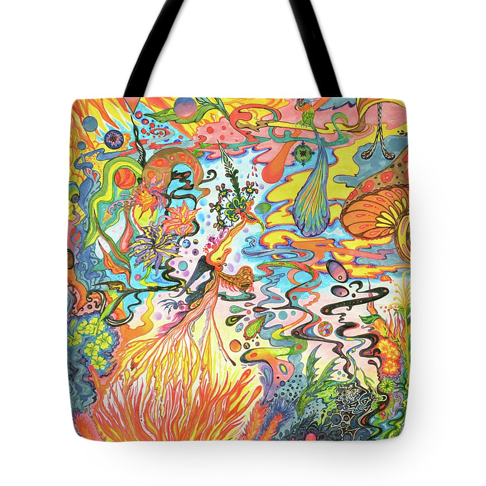 Psychedelic Landscape Tote Bag featuring the painting Acid Dreams by Liz Baker
