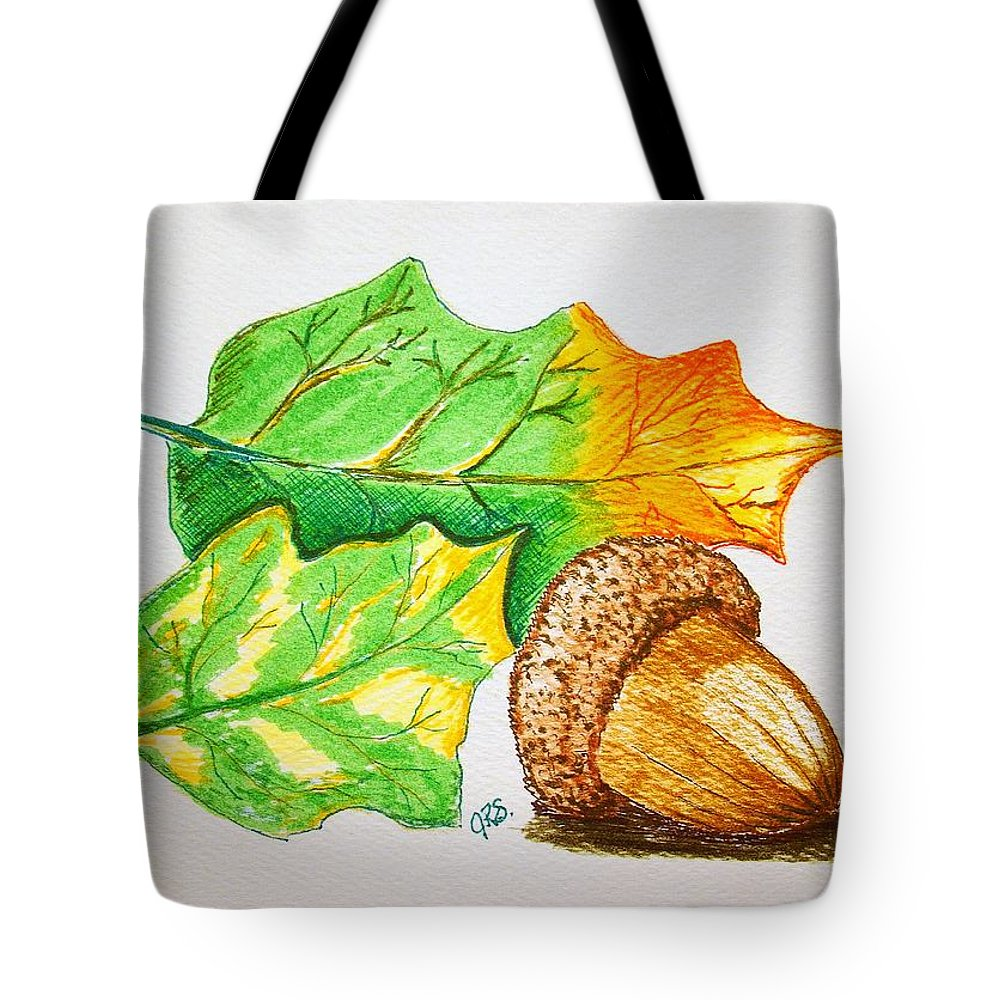 Stationery Card Tote Bag featuring the drawing Acorn And Leaves by J R Seymour