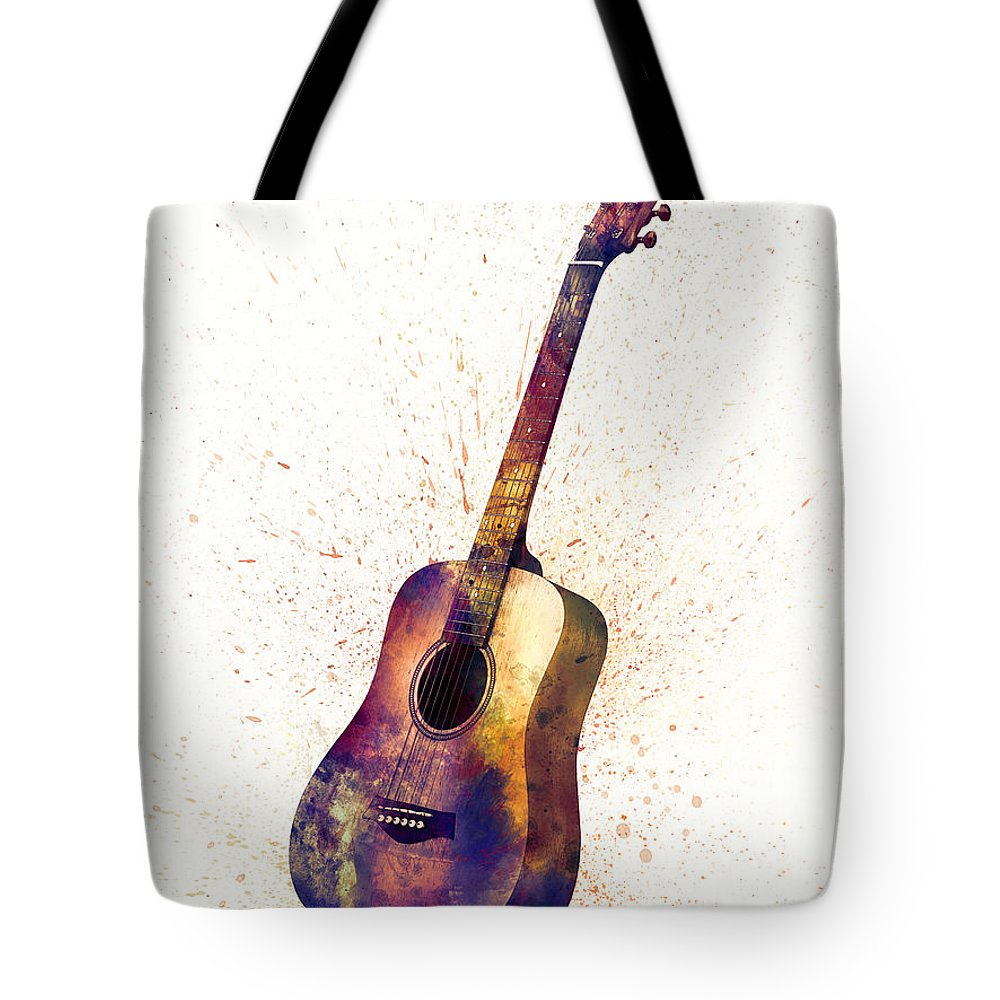 Acoustic Guitar Tote Bag featuring the digital art Acoustic Guitar Abstract Watercolor by Michael Tompsett