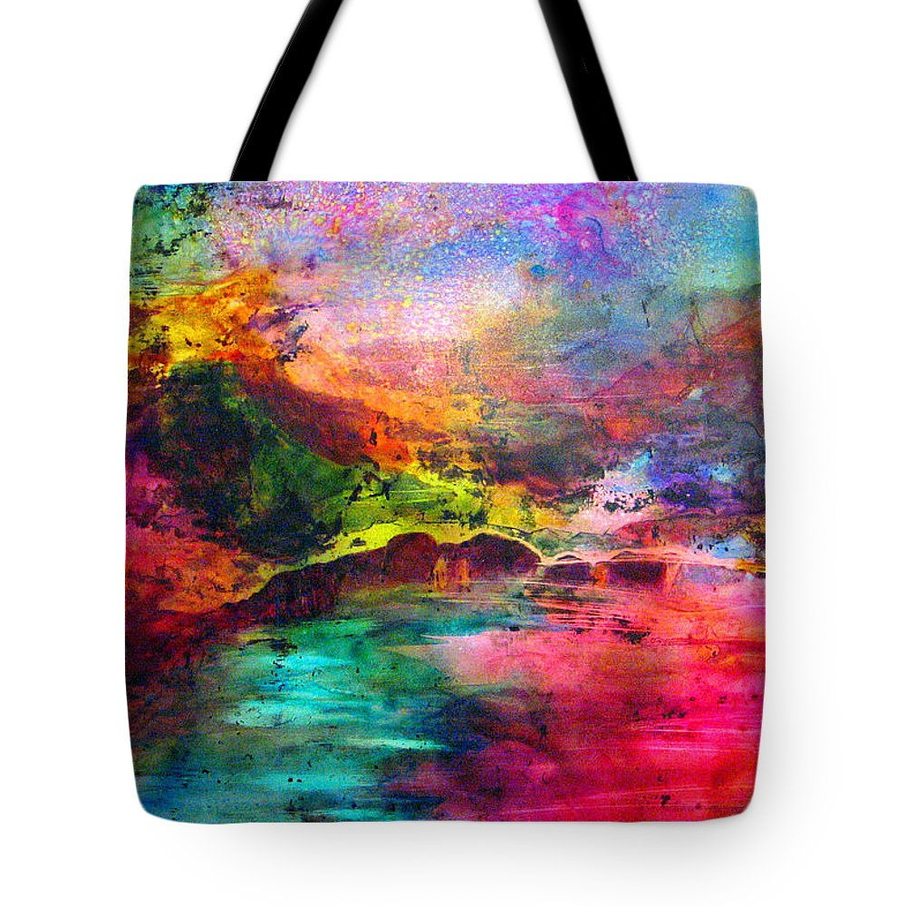 Bridge Tote Bag featuring the painting Across by Janice Nabors Raiteri