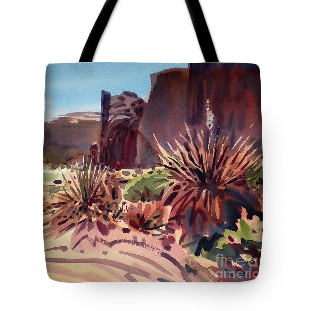 Monument Valley Tote Bag featuring the painting Across Monument Valley by Donald Maier
