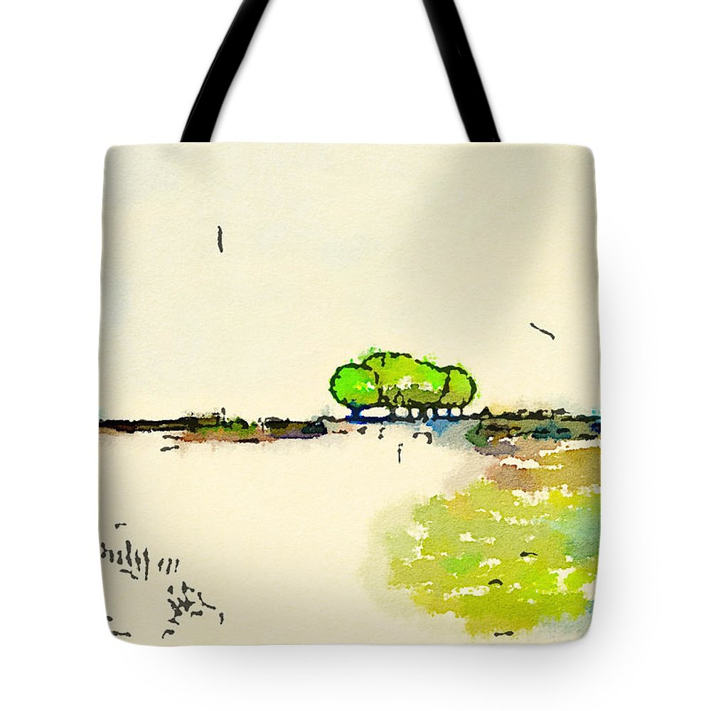 Landscape Tote Bag featuring the painting Across The Fields by Vanessa Katz