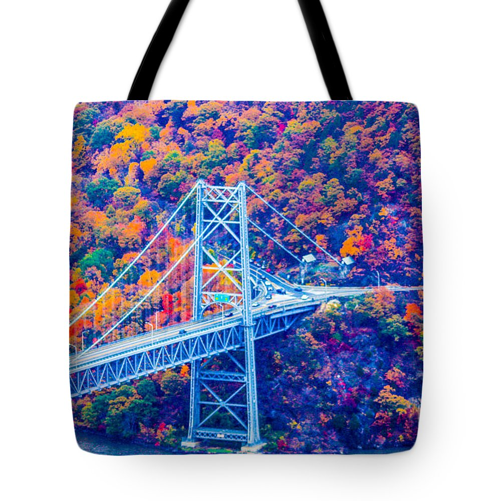 Bear Mountain Bridge Tote Bag featuring the photograph Across The Other Side Of Bear Mountain Bridge by William Rogers