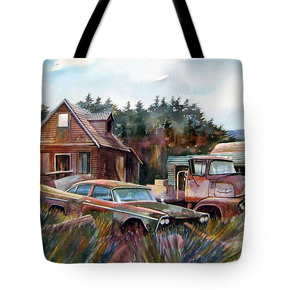 Cars Tote Bag featuring the painting Across The Road And Gone by Ron Morrison