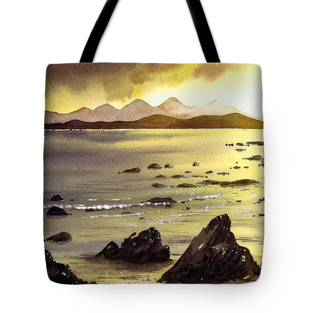 Gigha Tote Bag featuring the painting Across To Gigha And Jura by Paul Dene Marlor