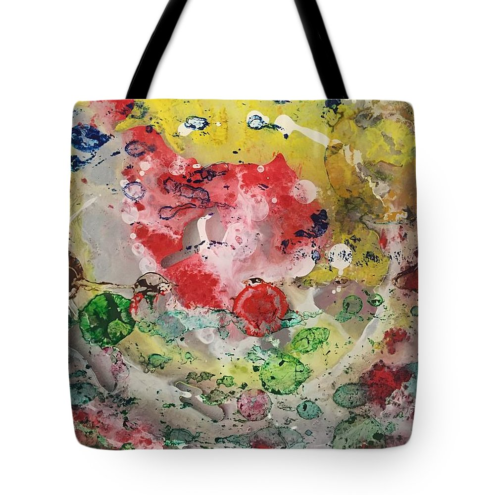 Acrylic Abstract Painting On 1/4 Acrylic Plexi Glass - This Piece Is Part Of My Special 'big Bang' Collection Tote Bag featuring the painting Acrylic Abstract 15-u.uuu by Virginia Margarita