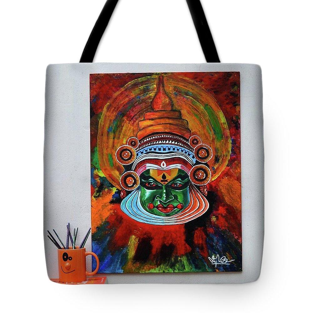 Acrylic Kathakali Painting Handmade On Canvas Tote Bag