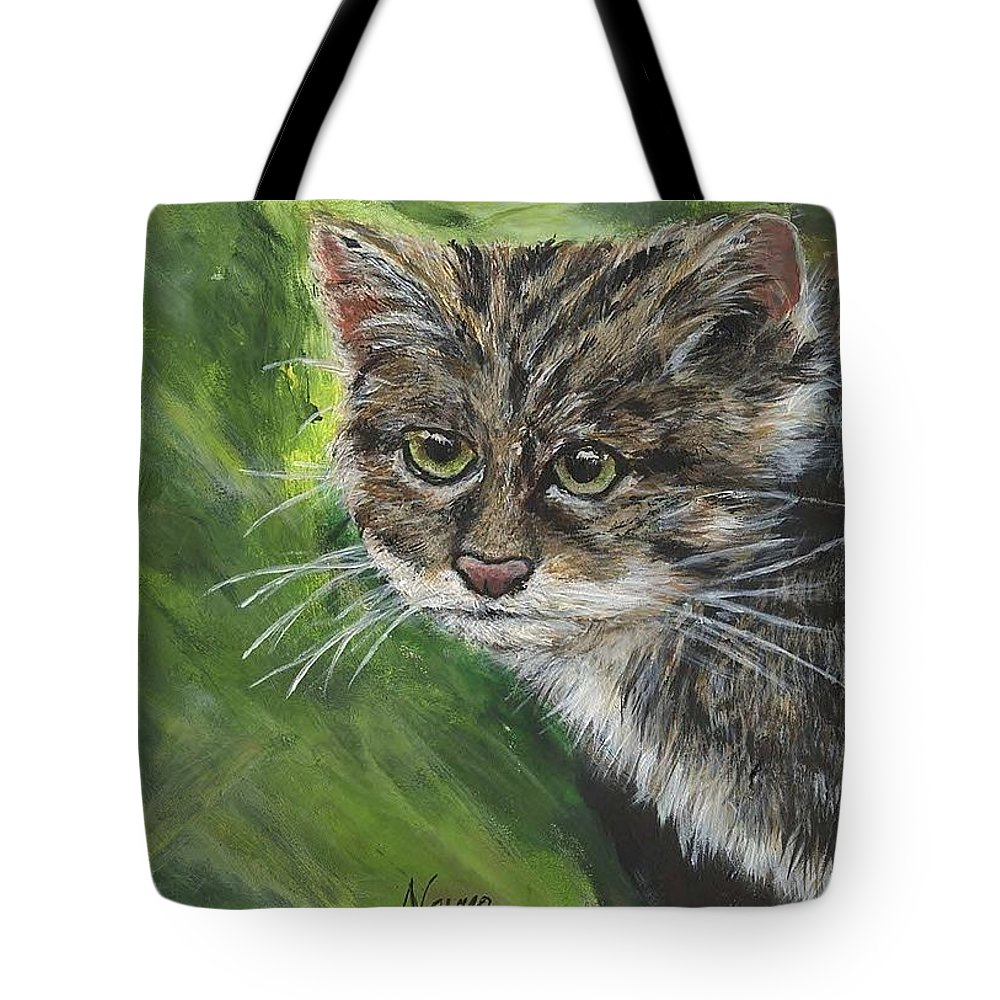 Acrylic Tote Bag featuring the painting Acrylic Scottish Wildcat by Navya Saini
