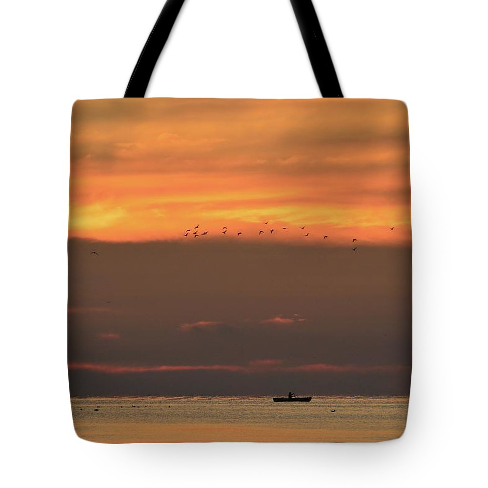 Abstract Tote Bag featuring the photograph Activity On Lake Simcoe by Lyle Crump
