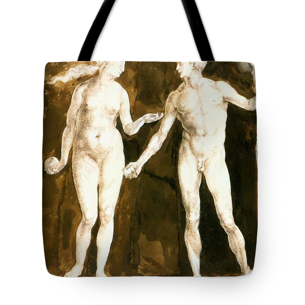 Adam Tote Bag featuring the painting Adam And Eve 1504 by Durer Albrecht