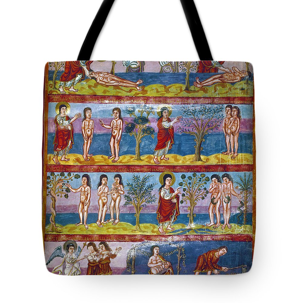 9th Century Tote Bag featuring the photograph Adam And Eve. 9th Century by Granger