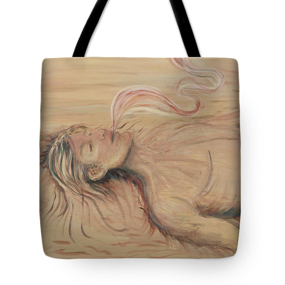 Adam Tote Bag featuring the painting Adam And The Breath Of God by Nadine Rippelmeyer