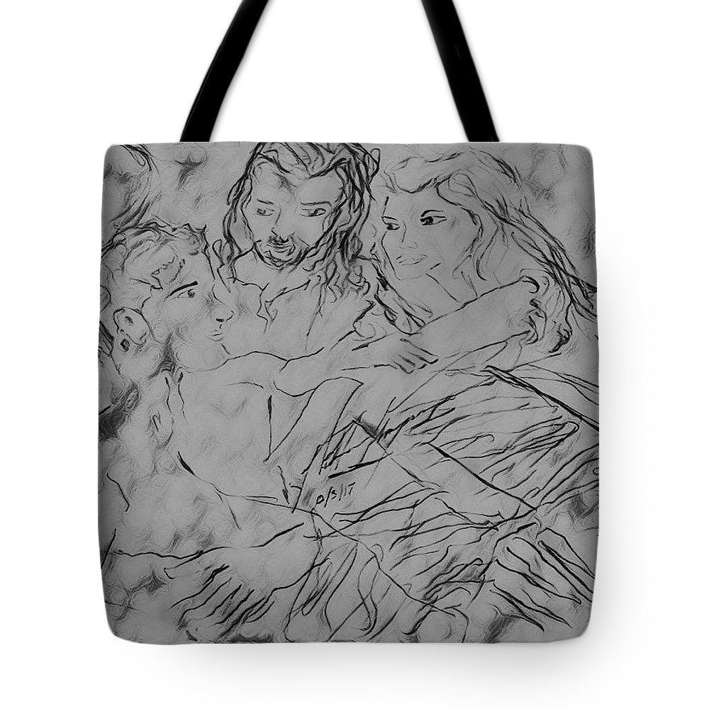 Creation Tote Bag featuring the drawing Adam andEve The Creation Story by Love Art Wonders By God