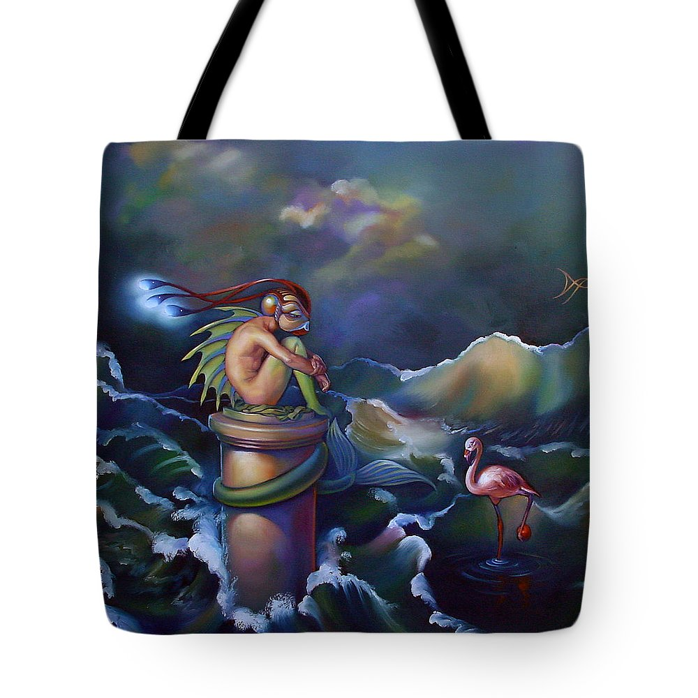 Merman Tote Bag featuring the painting Adam by Patrick Anthony Pierson