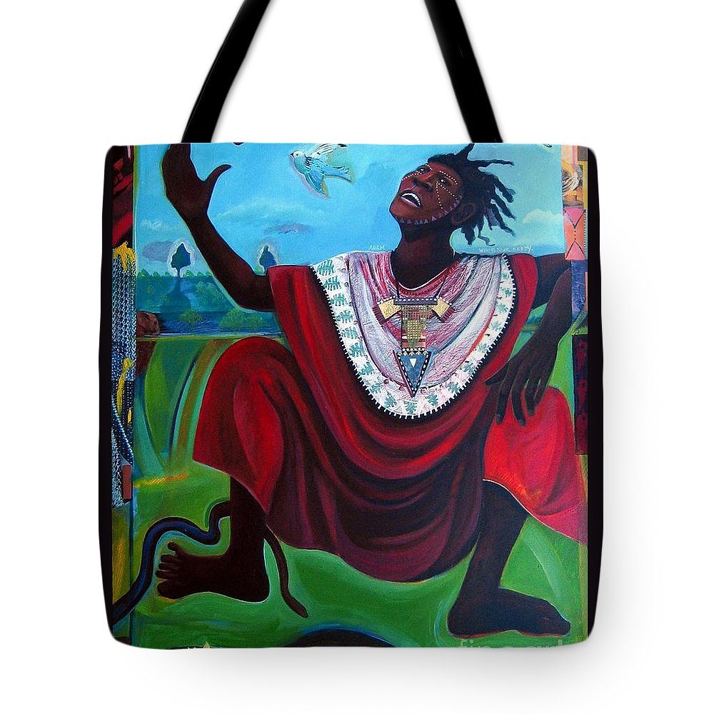 Adam Tote Bag featuring the painting Adam Who Is Your Daddy by Joyce Owens
