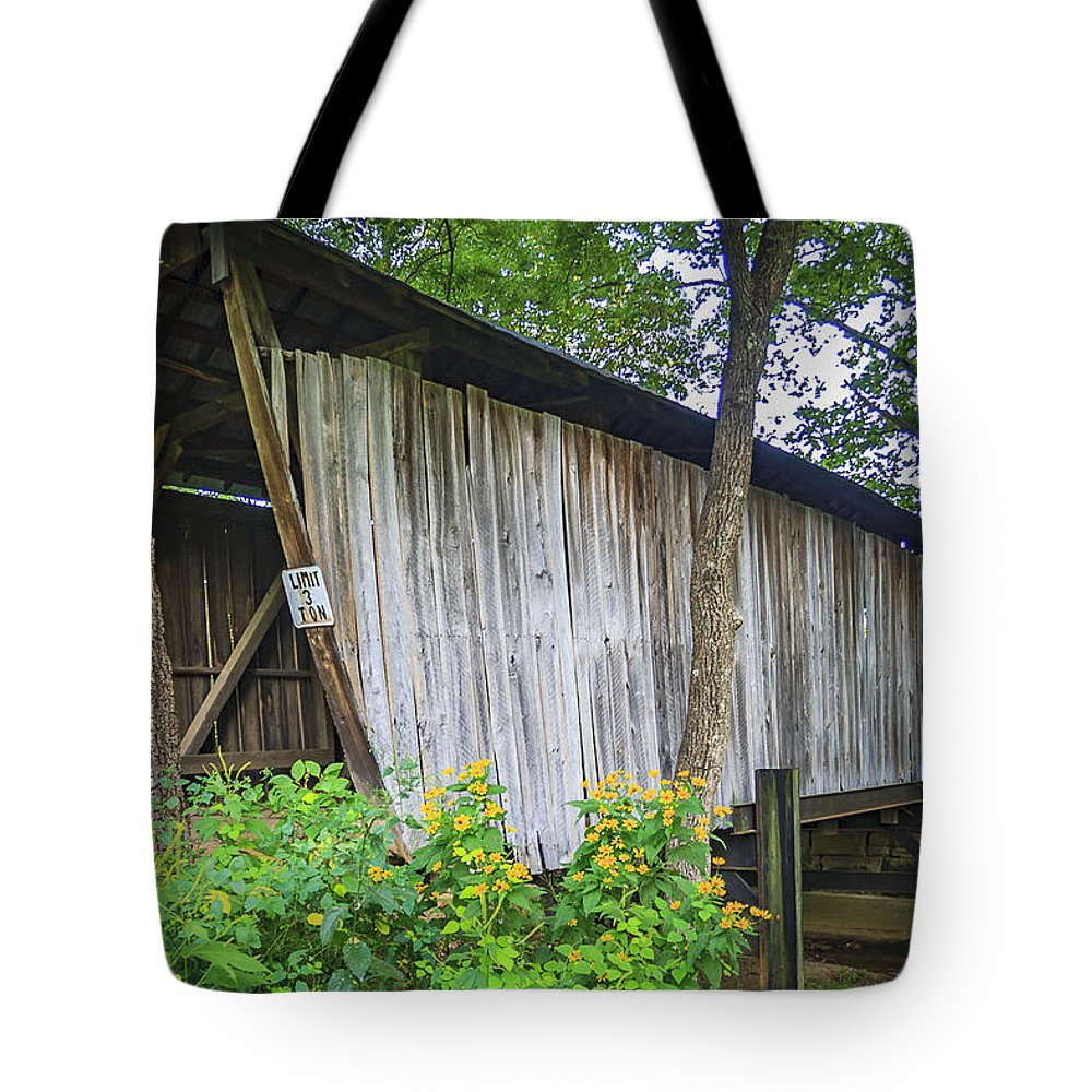 Adams Tote Bag featuring the photograph Adams/san Toy Covered Bridge by Jack R Perry