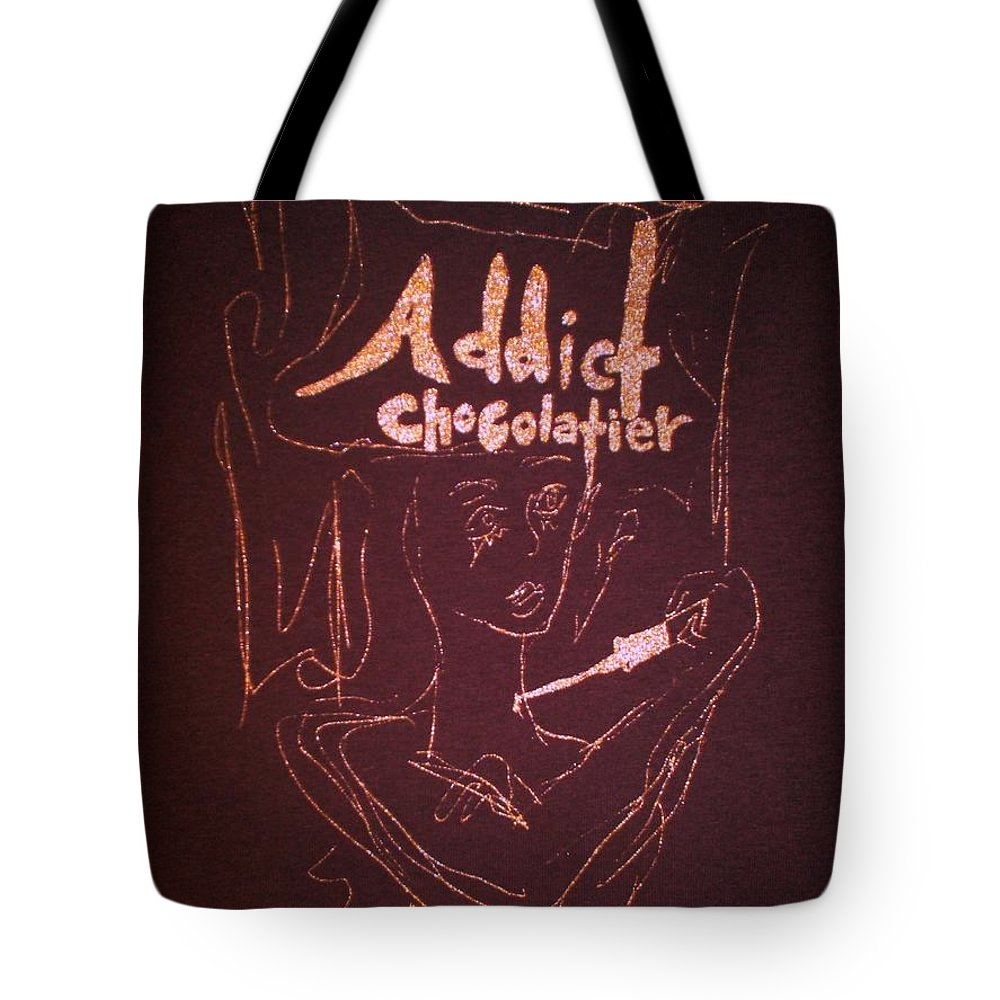 Dark Chocolate Tote Bag featuring the drawing Addict Chocolatier by Ayka Yasis