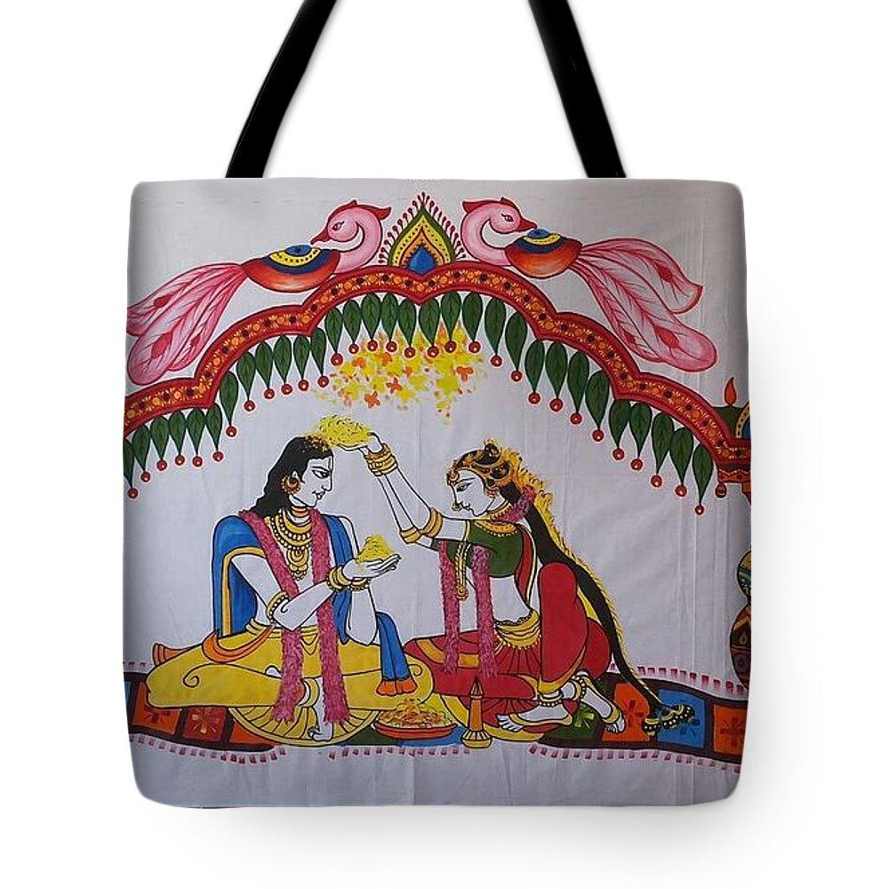 Miyapur Artist Tote Bag featuring the painting Addutara-marrege-curtain by Venkat Meruvu