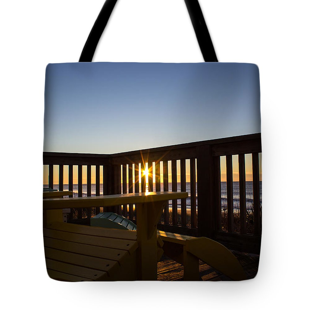Adirondack Chair Tote Bag featuring the photograph Adirondack Sunrise by Karl Holzapfel