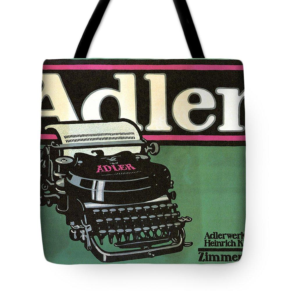 Adler Tote Bag featuring the mixed media Adler Typewriter - Vintage Typewriter - Retro Advertising Poster by Studio Grafiikka