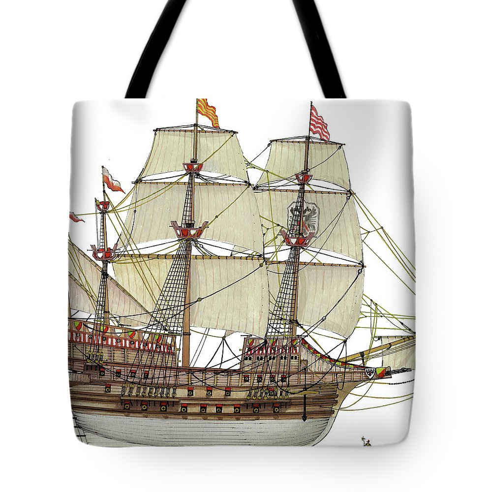 Adler Von Lubeck Tote Bag featuring the drawing Adler von Lubeck by The Collectioner