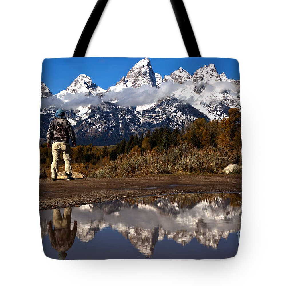 Gtnp Tote Bag featuring the photograph Admiring The Teton Sights by Adam Jewell