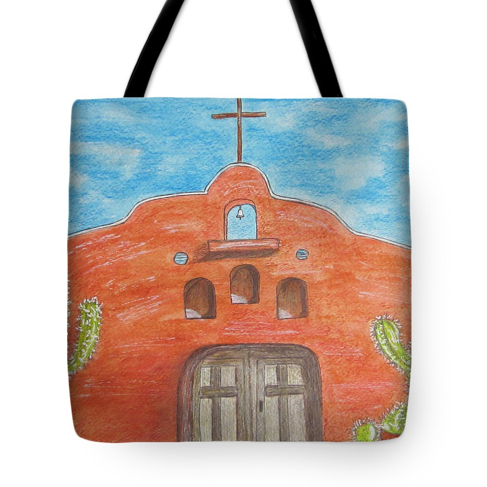 Adobe Tote Bag featuring the painting Adobe Church And Cactus by Kathy Marrs Chandler