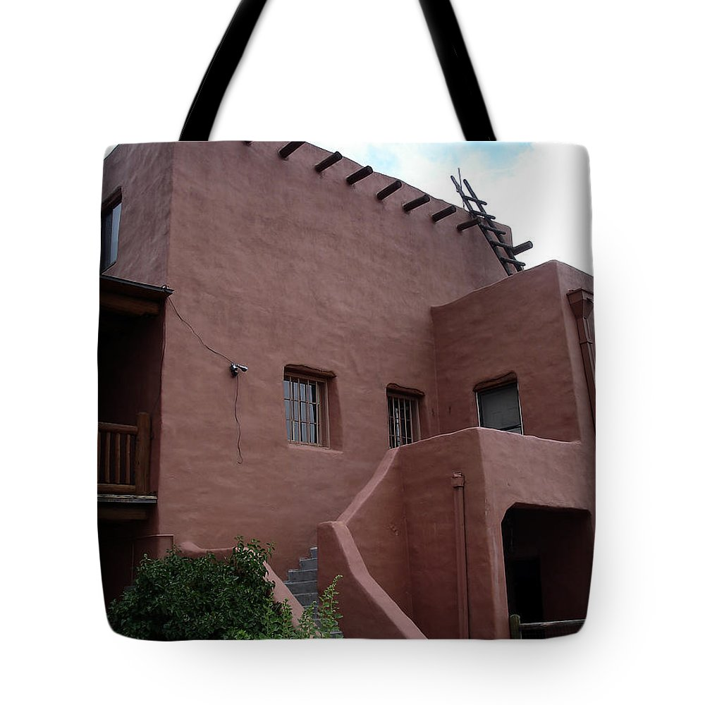 Santa Fe Tote Bag featuring the photograph Adobe House At Red Rocks Colorado by Merja Waters