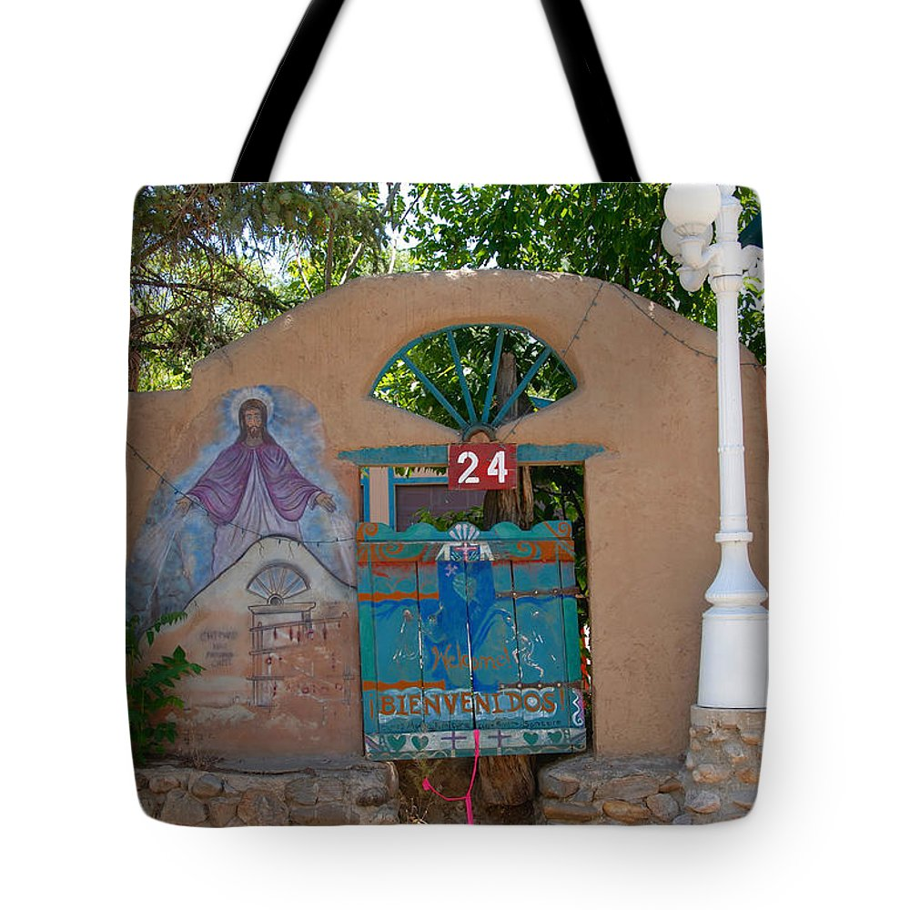 Chimayo New Mexico Tote Bag featuring the photograph Adobe Wall Chimayo by David Lee Thompson