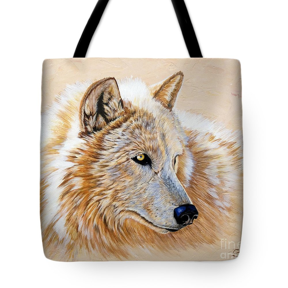 Acrylic Tote Bag featuring the painting Adobe White by Sandi Baker