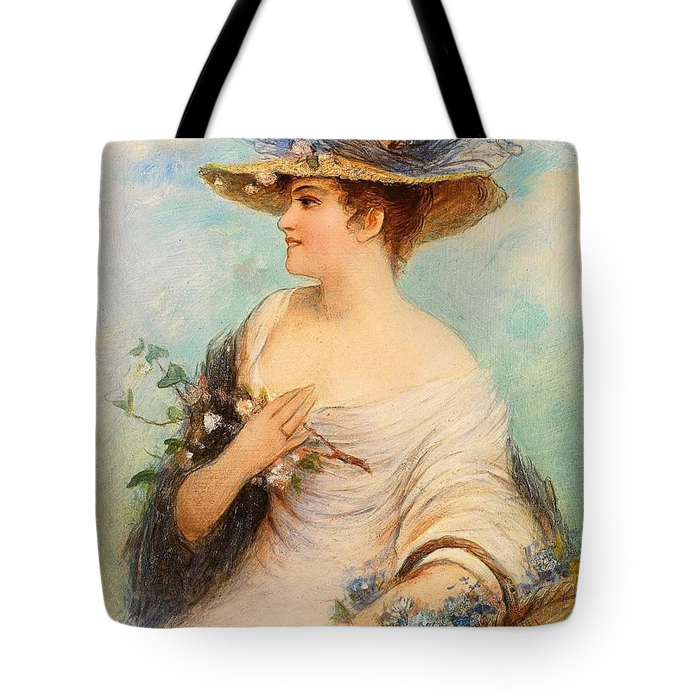Millot Tote Bag featuring the painting Adolphe Philippe Millot by Celestial Images