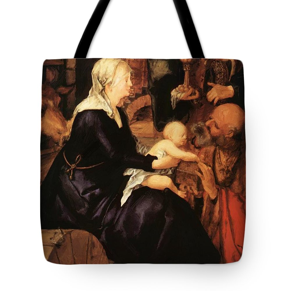 Adoration Tote Bag featuring the painting Adoration Fragment by Durer Albrecht