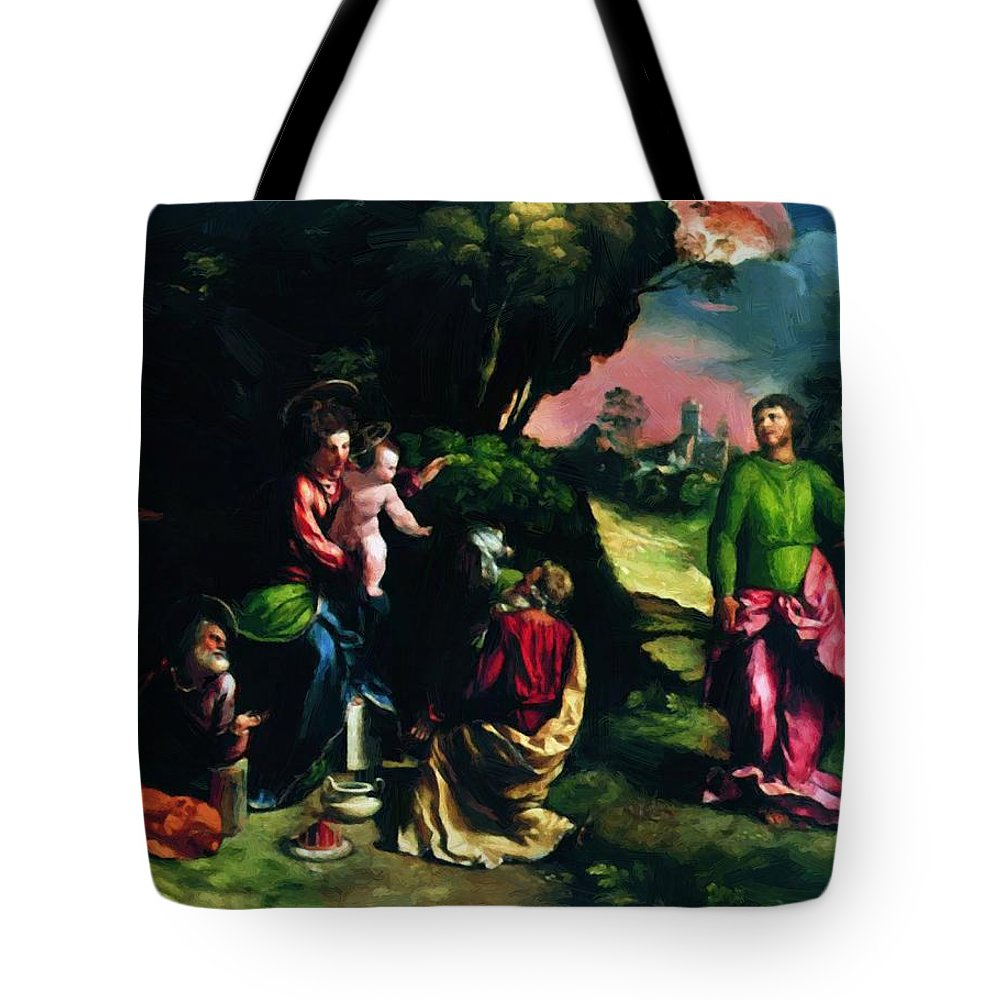 Adoration Tote Bag featuring the painting Adoration Of The Magi 1520 by Dossi Dosso